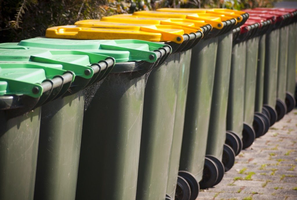 color coded waste bins