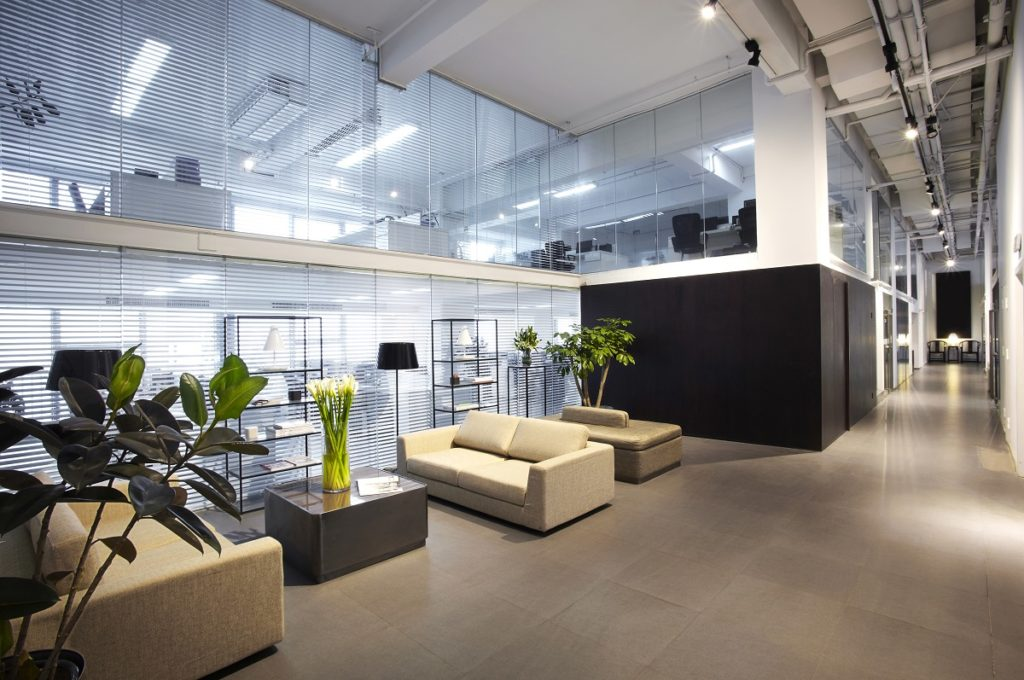 modern office lobby with comfy couches
