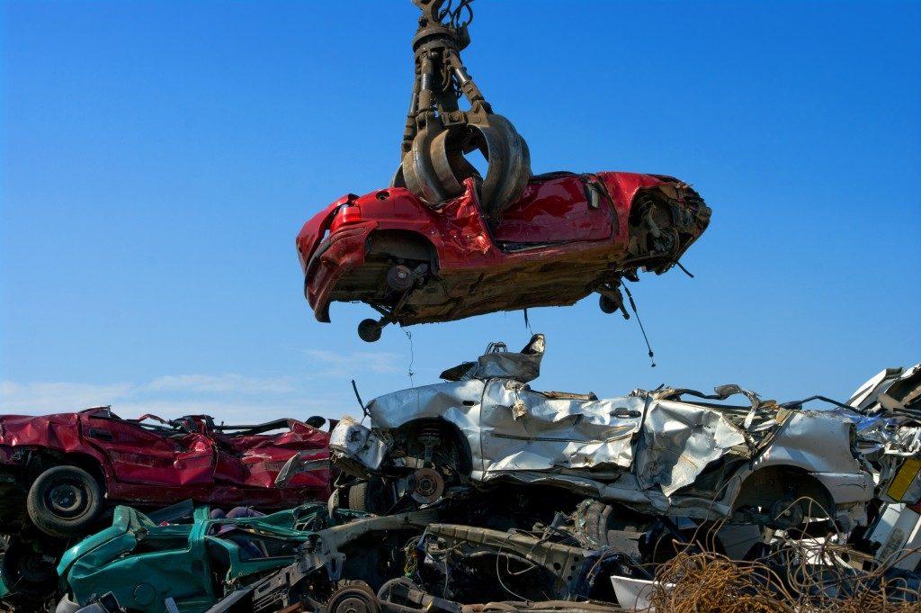 car in a junk yard