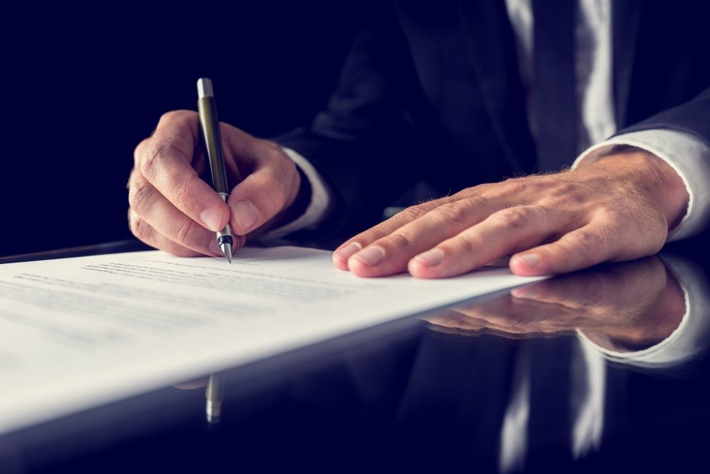 Signing a legal document