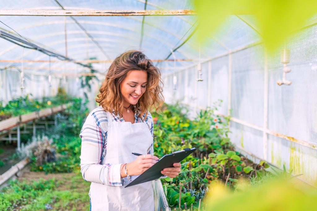 woman working on garden